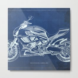 Blue Carbon Diavel Metal Print