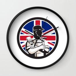 British DIY Expert Union Jack Flag Icon Wall Clock