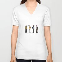 infamous V-neck T-shirts featuring 8-bit Infamous by MrHellstorm