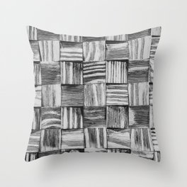 Vintage Wood Block // Black and White Wooden Texture Wall Background Accent Decoration Throw Pillow