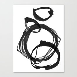 Black Ink Geometric Abstract Painting Rings 3 Canvas Print