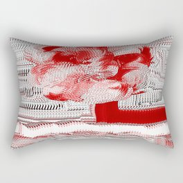 Red and White Woven Flower Pattern Rectangular Pillow