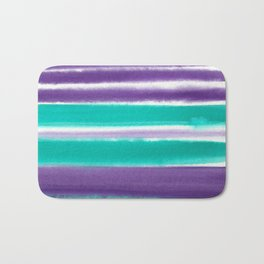 Teal and Purple Watercolor Stripes Bath Mat