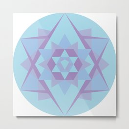 Geometric Mandala in Blue & Purple Metal Print