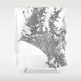 Lima White Map Shower Curtain