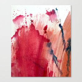 Blushing [3]: a vibrant, minimal abstract in pink, red, rose gold, and blue details Canvas Print