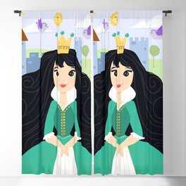 Fairy Tale Princess With Her Story Book Castle - Green Dress Blackout Curtain