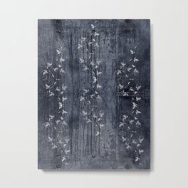 Flower Vines and Concrete Grunge Metal Print