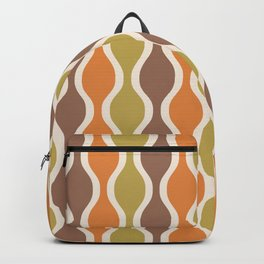 Classic Retro Ogee Pattern 846 Orange Brown and Olive Backpack