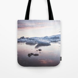 Sunset over Glacier Lagoon - Landscape and Nature Photography Tote Bag