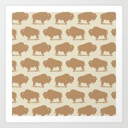 Buffalo Bison Pattern 264 Beige and Yellow Art Print