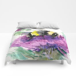 Bumblebee and Thistle Flower, honey bee floral Comforters