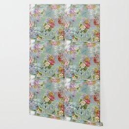 Grunged Florals on Green Wallpaper