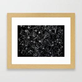 White ink, black card board. Graphic art, ink spring flowers Framed Art Print