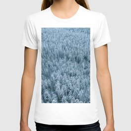 Winter pine forest aerial - Landscape Photography T-shirt