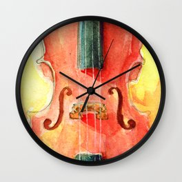 Cello in Red Wall Clock