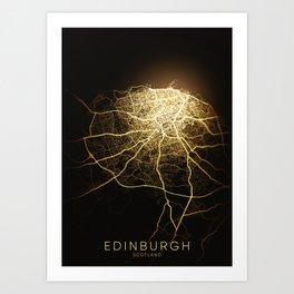 edinburgh Scotland city night light map Art Print