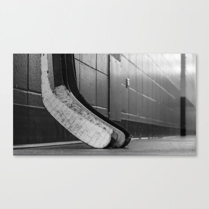 Black And White Macro Shot Of Hockey Stick Blades Laid On