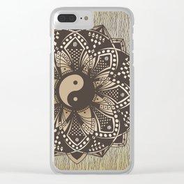 "Yin and Yang ""Sepia"" Mandala Clear iPhone Case"