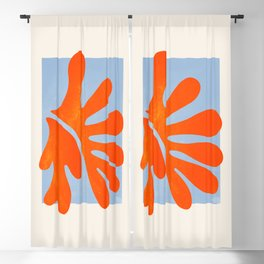 Red Coral Leaf: Matisse Paper Cutouts II Blackout Curtain