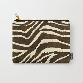 ZEBRA IN WINTER BROWN AND WHITE Carry-All Pouch