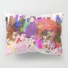 Kansas City skyline in watercolor background Pillow Sham