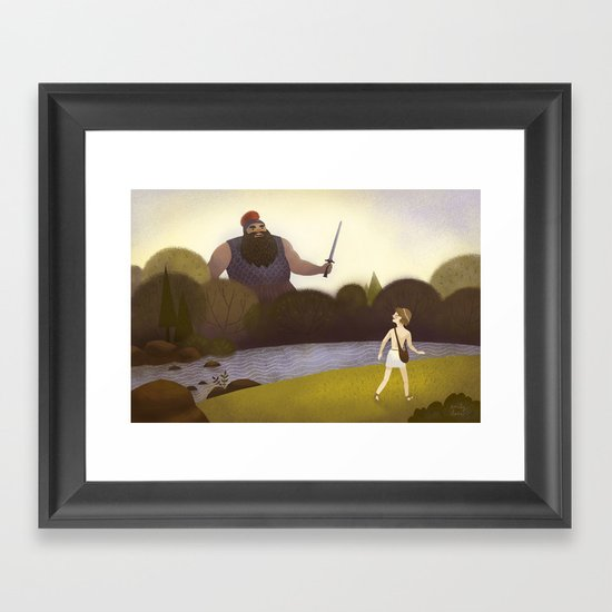 David Faces Goliath (By Emily Dove) Framed Art Print