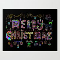 Merry Christmas Happy New Year Art Print