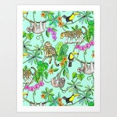 Rainforest Friends - watercolor animals on mint green Art Print