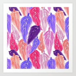 Watercolor Macrame Feather Toss in White + Purple Pink Art Print