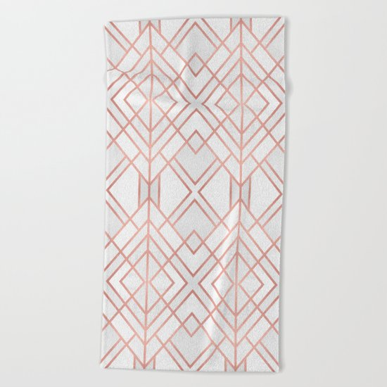 Geo Rose Gold Beach Towel