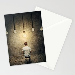 glowing lightbulb Stationery Cards