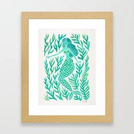 Kelp Forest Mermaid – Mint Palette Framed Art Print