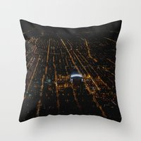 blackhawks Throw Pillows featuring United Center: A Standout Arena (Chicago Architecture Collection) by Bob Benenson Photo Art
