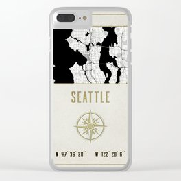 Seattle - Vintage Map and Location Clear iPhone Case