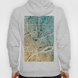Detroit Michigan City Map Hoody