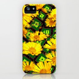 Golden Yellow Coreopsis Flowers Green-black Patterns iPhone Case