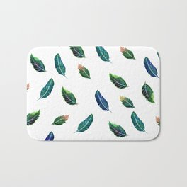 Watercolor Tribal Feathers Bath Mat