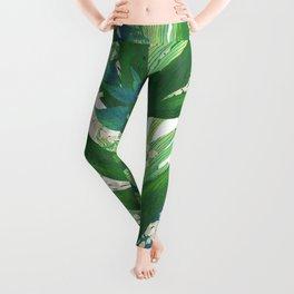 Tropical Leaves Pattern Leggings