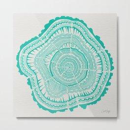 Turquoise Tree Rings Metal Print