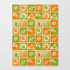 Microscopic Life Sillouetts Orange and Green Canvas Print