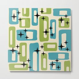 Retro Mid Century Modern Abstract Pattern 225 Blue and Green Metal Print