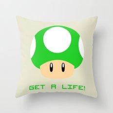 Get A Life! (Super Mario) Throw Pillow