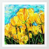tulips Art Prints featuring Tulips  by sladja