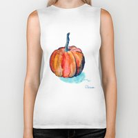 pumpkin Biker Tanks featuring Pumpkin by Elena Sandovici