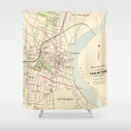 Vintage Map of Hartford Connecticut (1893) Shower Curtain