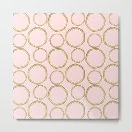 Blush Pink & Gold Circles Metal Print