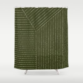 Lines (Olive Green) Shower Curtain