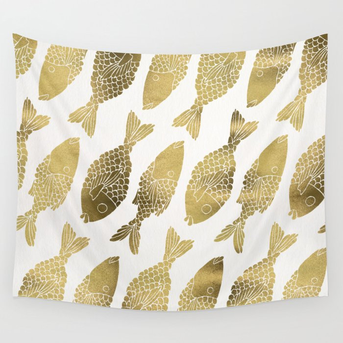 Indonesian Fish Duo – Gold Palette Wall Tapestry by catcoq | Society6