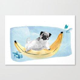 Pug on a Banana Boat Canvas Print